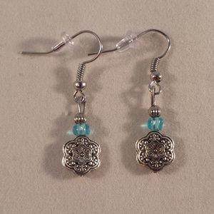Silver Artisan Flower Bead Earrings Hypoallergenic